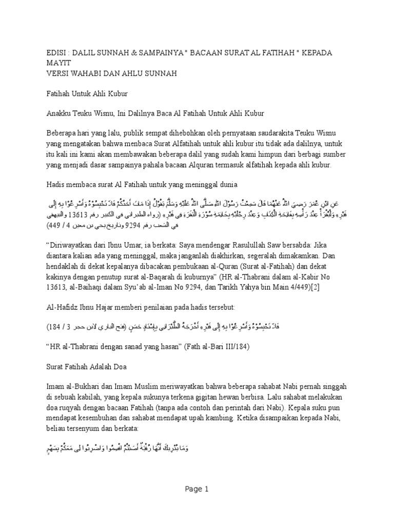 Membaca Surah Al Fatihah Kepada Yang Sdh Meninggal