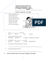 English Formative Test Paper 1 Year 3 March 2017
