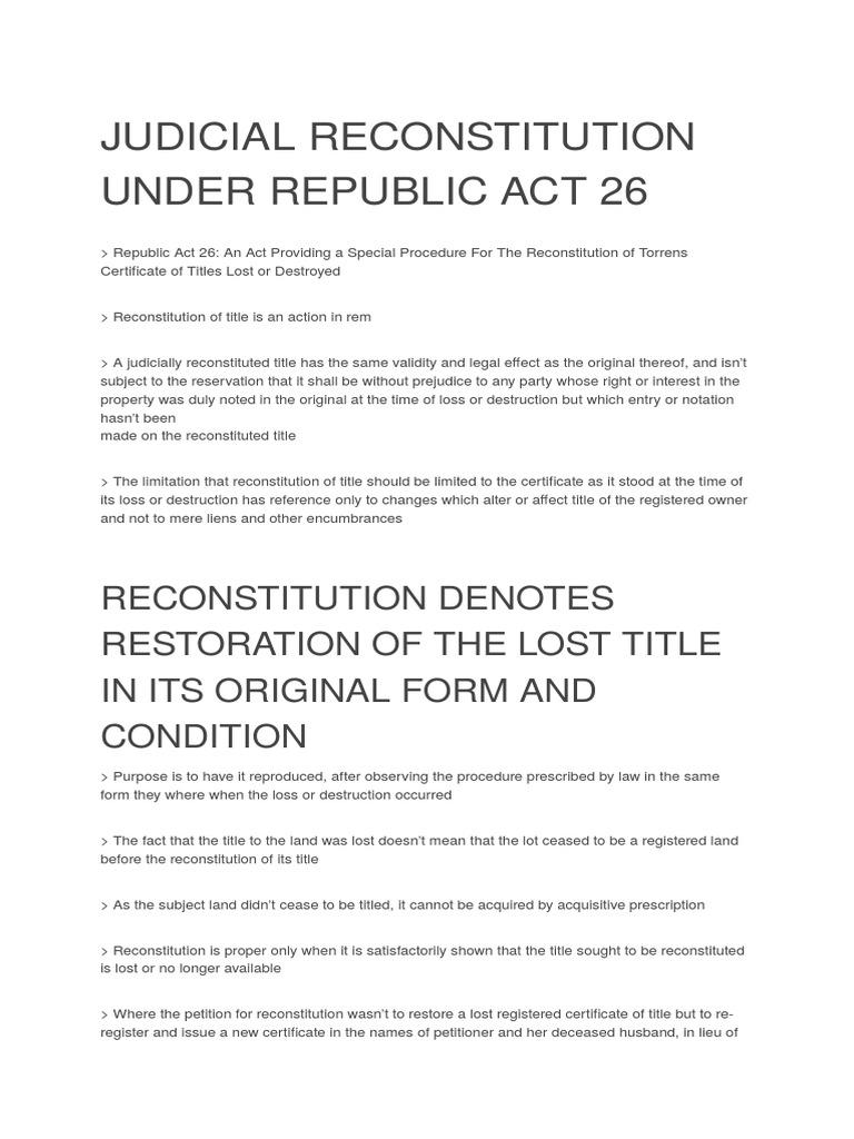 Judicial Reconstitution Under Republic Act 26cx Mortgage Law Deed