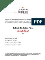 Sales Marketing Plan Sample