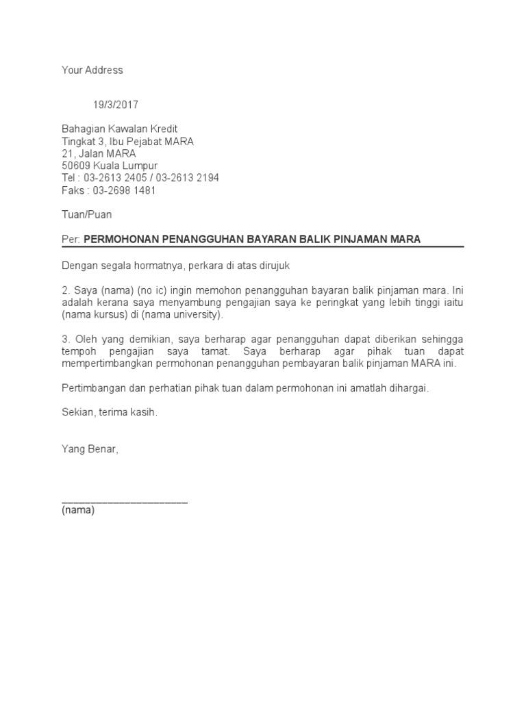Surat Rayuan Permohonan Akpk Kuora M