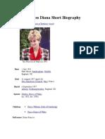 Princess Diana Short Biography