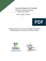 San Pedro Cholula Reglamento Para La Venta de Bebidas Alcoholicas