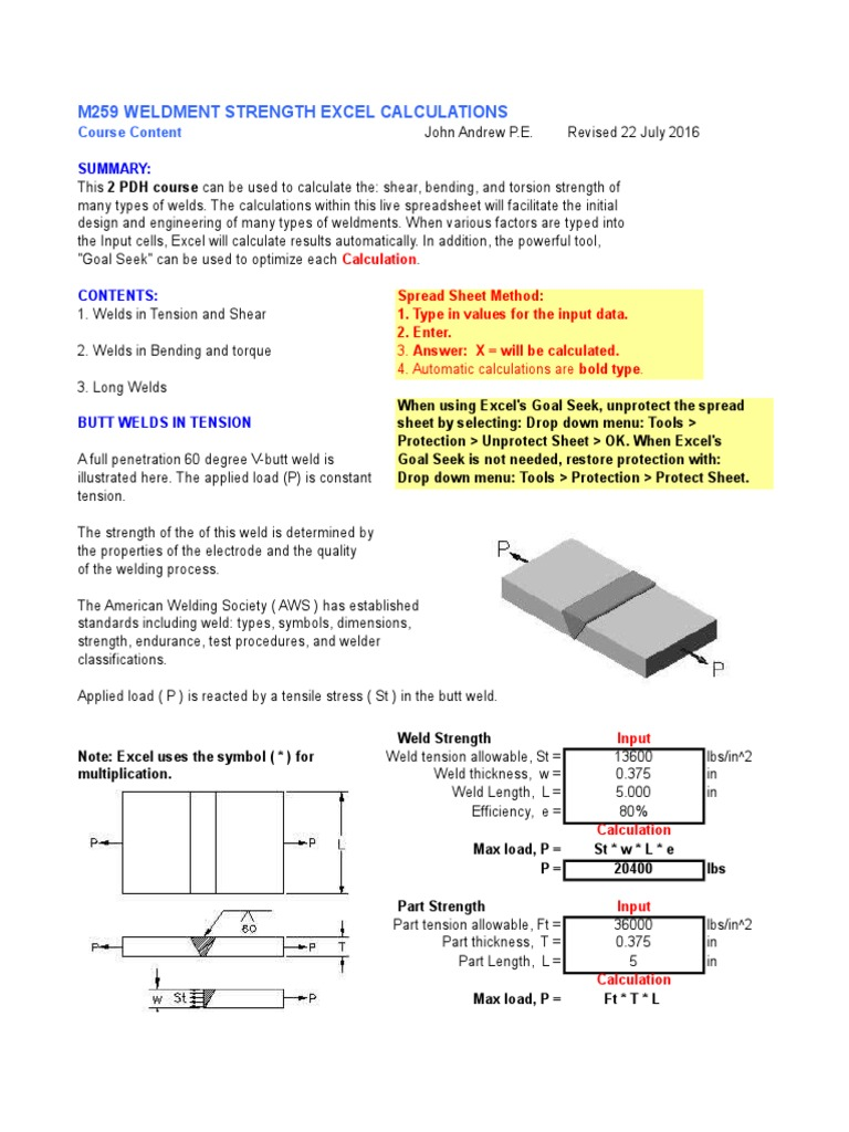 Weldment Strength Excel Calculations | Bending | Beam (Structure)