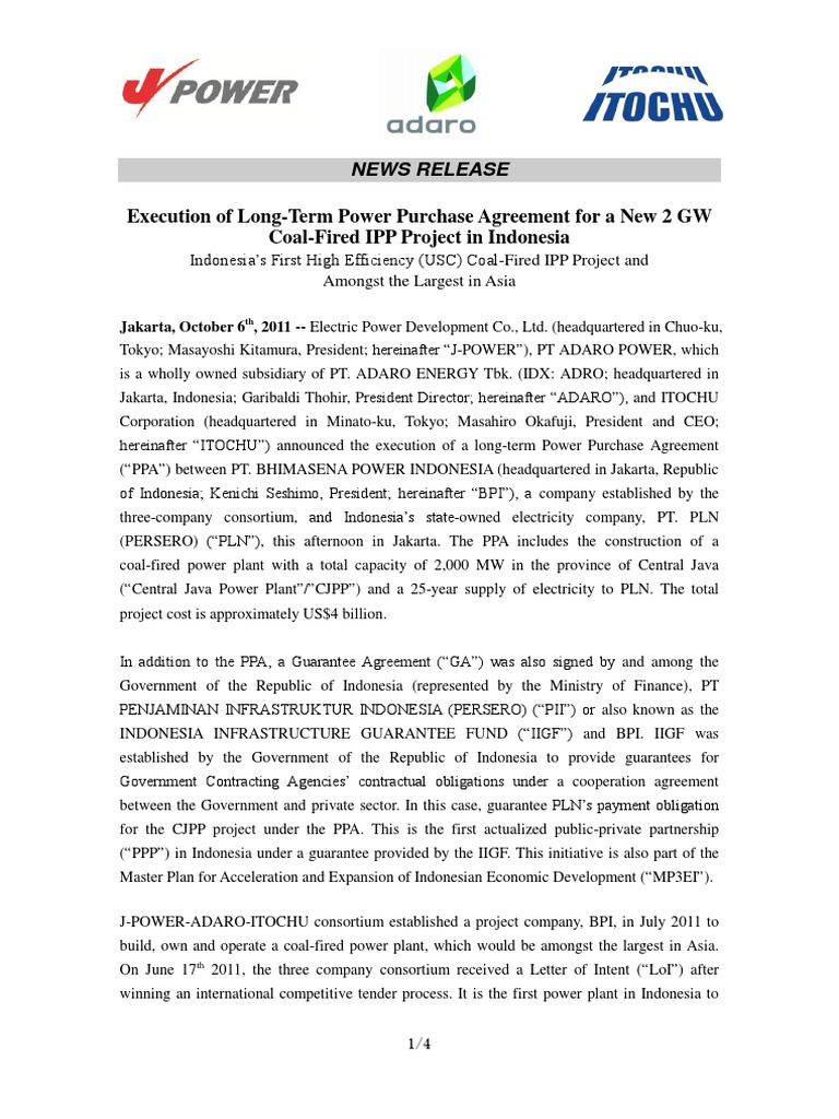 Letter Execution Of Long Term Power Purchase Agreement For A New 2
