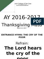 Thanksgiving Mass Mass 2017