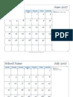 2017 Monthly Jun Sep Calendar6