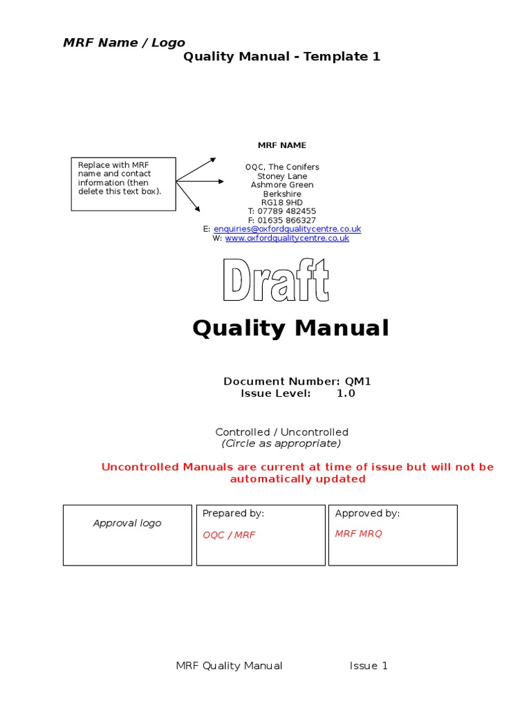 Quality Manual Template | Iso 9001 Quality Manual Doc Business
