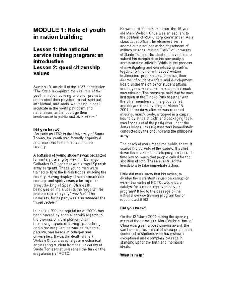 nstp module lesson citizenship peace