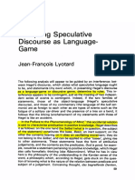 Lyotard - Analyzing Speculative Discourse as a Language Game