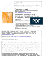 Predictors of Distress in Cancer