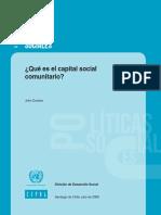 John Durston Que Es Capital Social Comunitario