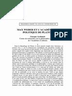 Arabatzis_Max Weber Et l'Académisme Politique de Platon