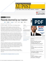 """""""Rwanda Doomed by Our Inaction"""" National Post"""