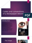 Codes and Conventions of a Newspaper Advert