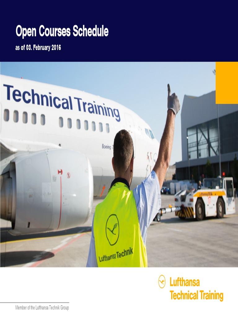 Lufthansa Technical Training Open Courses Schedule as at February 2016 |  Aerospace Engineering | Aeronautics