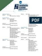 Schedule - 2017 NCAA DI Men's Swimming & Diving Championships