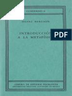 Bergson, Henri - Introducción a La Metafísica