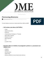 Oxfordmedicaleducation.com Pharmacology Mnemonics