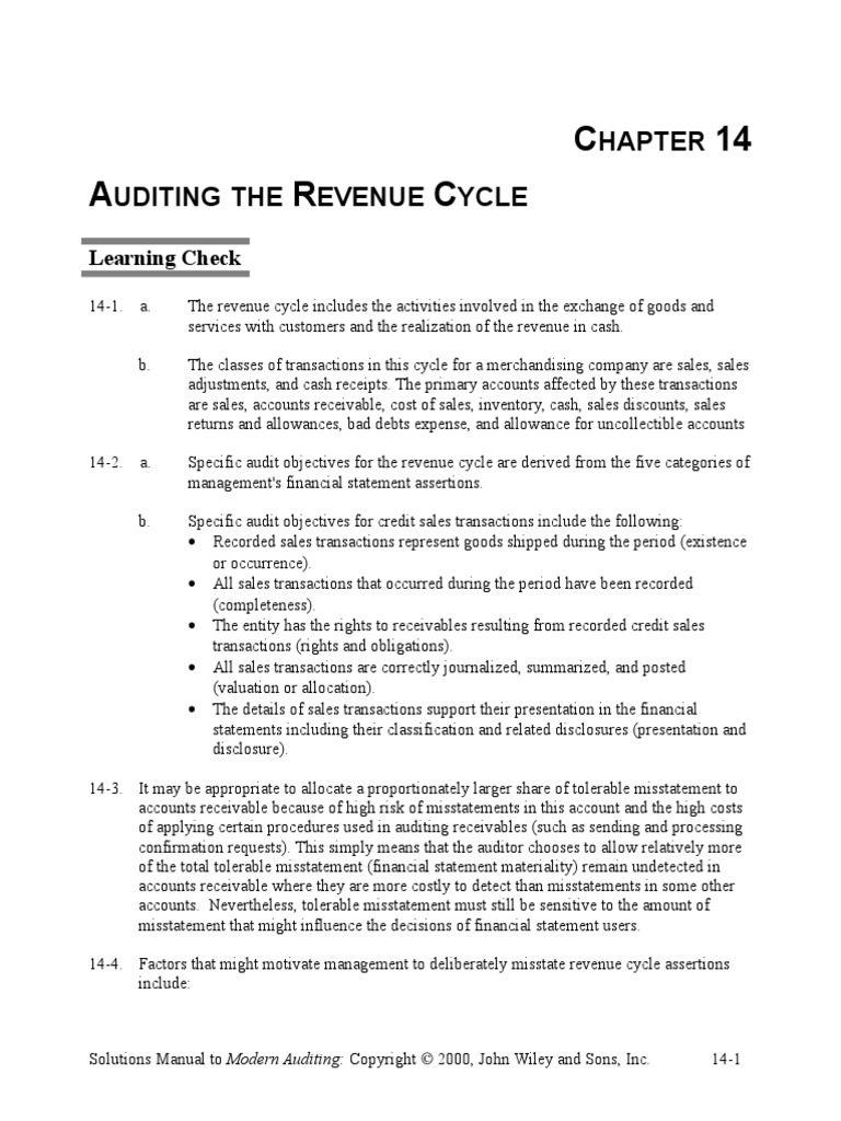 Solution Manual Auditing Chapter 14 Boynton 8th Ed. | Debits And Credits |  Audit