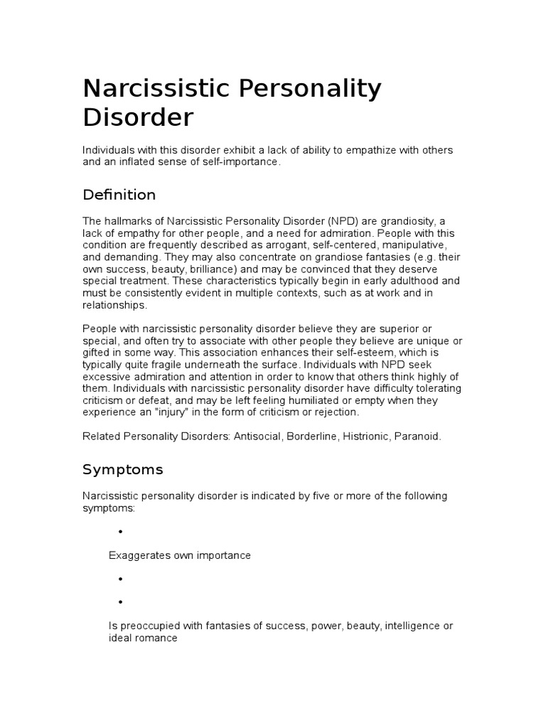 narcissistic personality disorder | personality disorder | mental