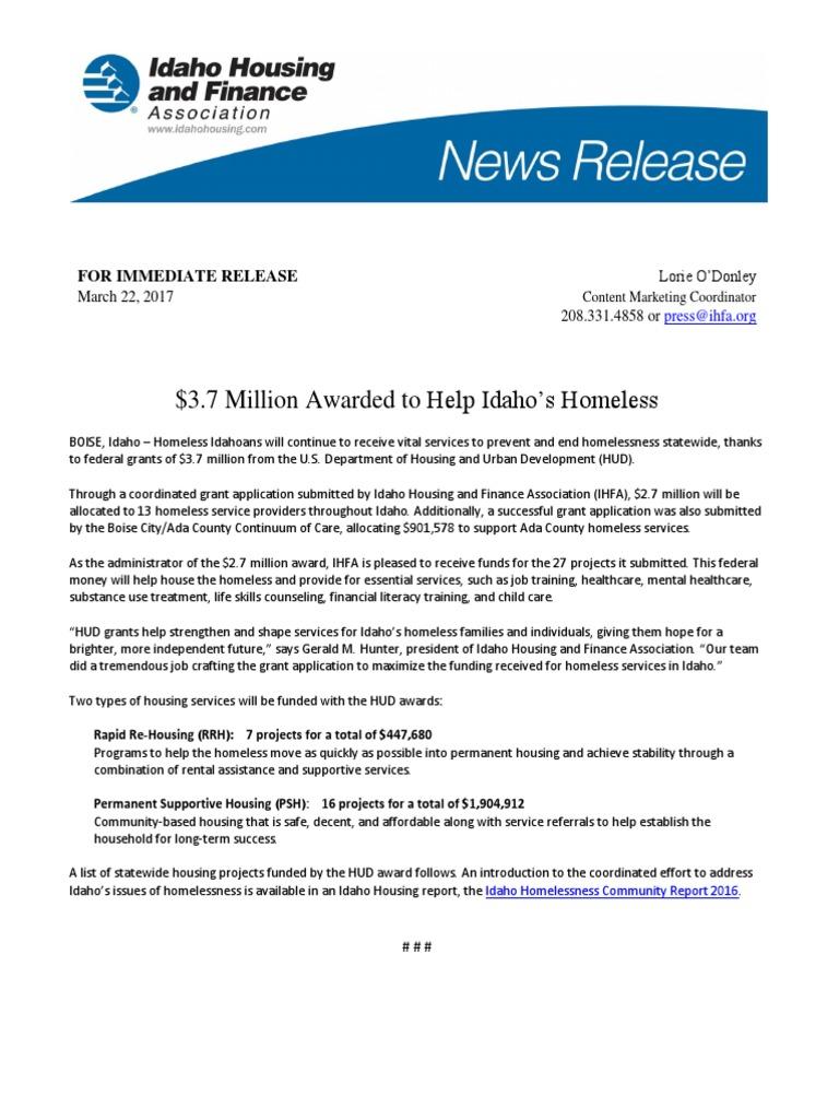 Mar22,2017- $3 7 million Awarded to Help Idaho's Homeless