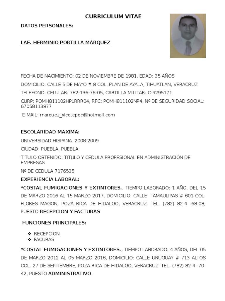 Curriculum Vitae Lae Portilla Marquez