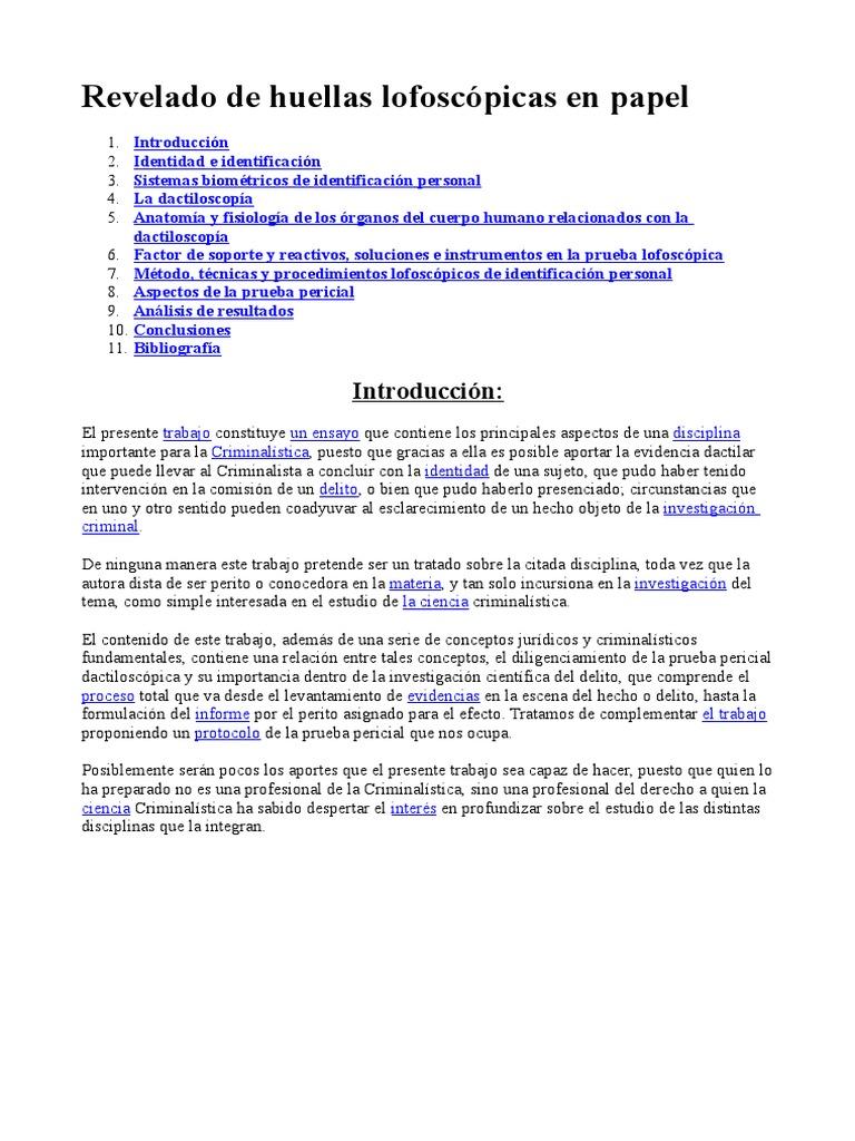 REVELADO DE HUELLAS LOFOSCOPICAS EN EL PAPEL ( CRIMINOLOGIA).doc