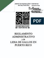 Reglamento Administrativo 7424 de Lidia de Gallos en Puerto Rico