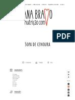 Sopa de Cenoura - Nutrição Com Coração - Blogue Da Nutricionista Ana Bravo