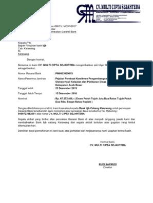 Contoh Surat Permohonan Pencairan Deposito Bank Mandiri ...
