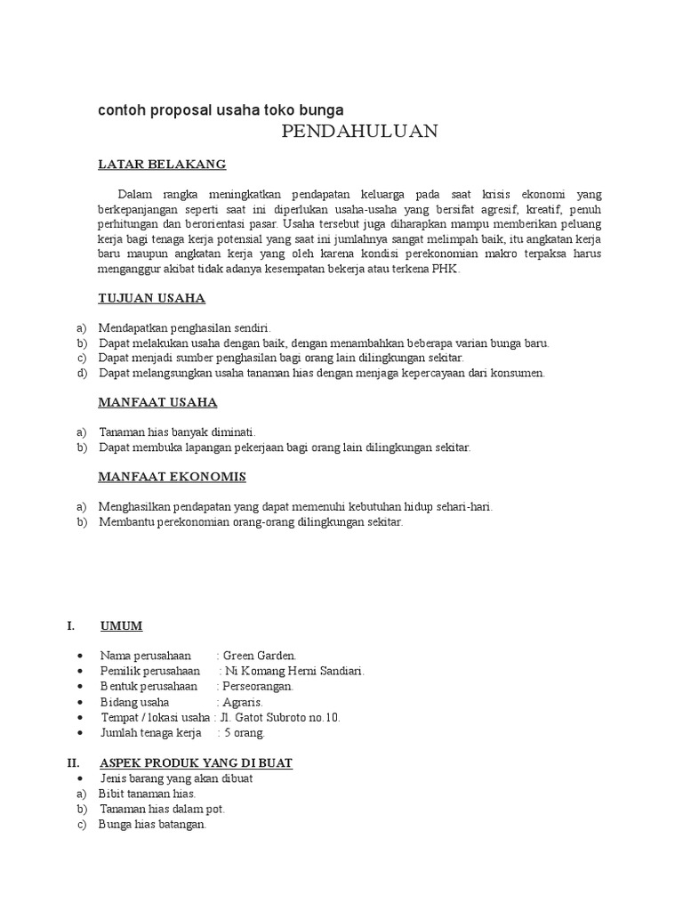 Contoh Proposal Usaha Toko Bunga Docx