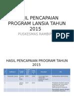 Hasil Pencapaian Program Lansia Tahun 2015