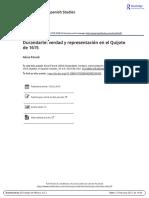 Durandarte Verdad y Representaci n en El Quijote de 1615