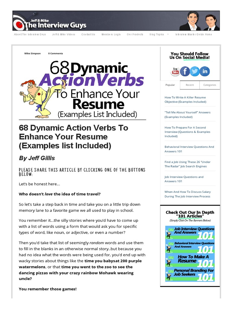 68 dynamic action verbs to enhance your resume examples list