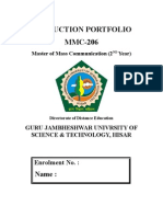 Production Portfolio (Sample) MMC, Guru Jambheshwar University of Sciene and Technolgy, Hisar