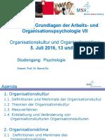 8 AOW Vorlesung VII Organisationskultur Und Klima 5 Juli 2016