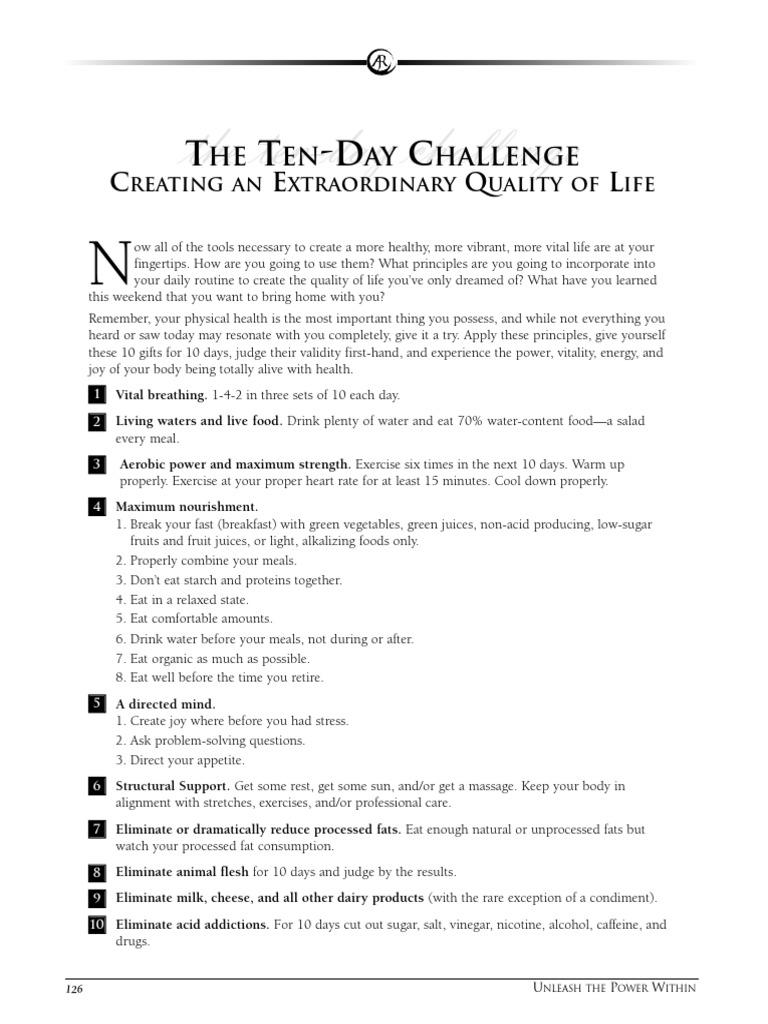 10 challenge robbins tony day The 10