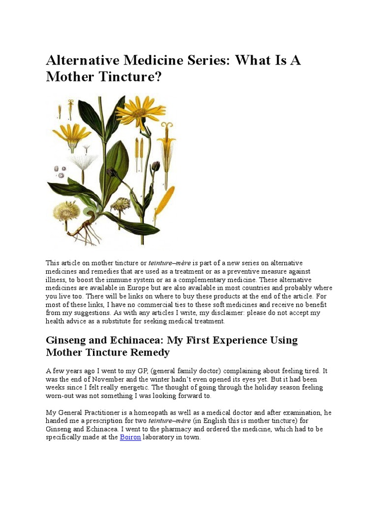 Mother Tincture in Homeopathy | Homeopathy | Herbalism