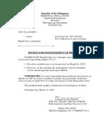 Motion for Postponement Pre Trial Sum of Money