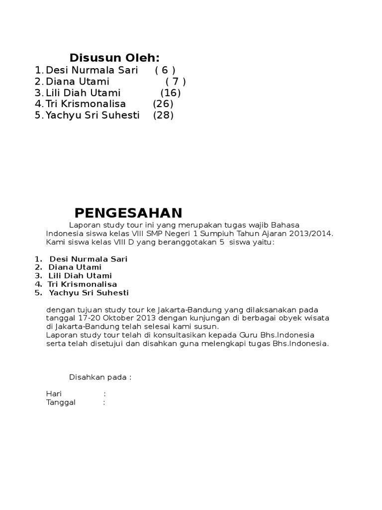 Contoh Laporan Study Tour Smp Ke Jakarta Bandung Kumpulan Contoh Laporan