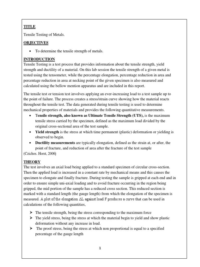 Tensile Test Ultimate Tensile Strength Strength Of