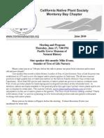 June 2010 Newsletter Monterey Bay Native Plant Society
