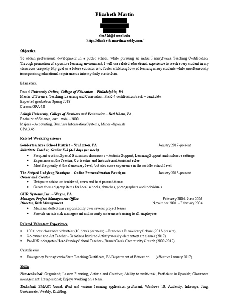 Elizabeth Martin Resume 2017 Blackout Version Pennsylvania Teachers
