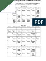 track   field schedule 2017