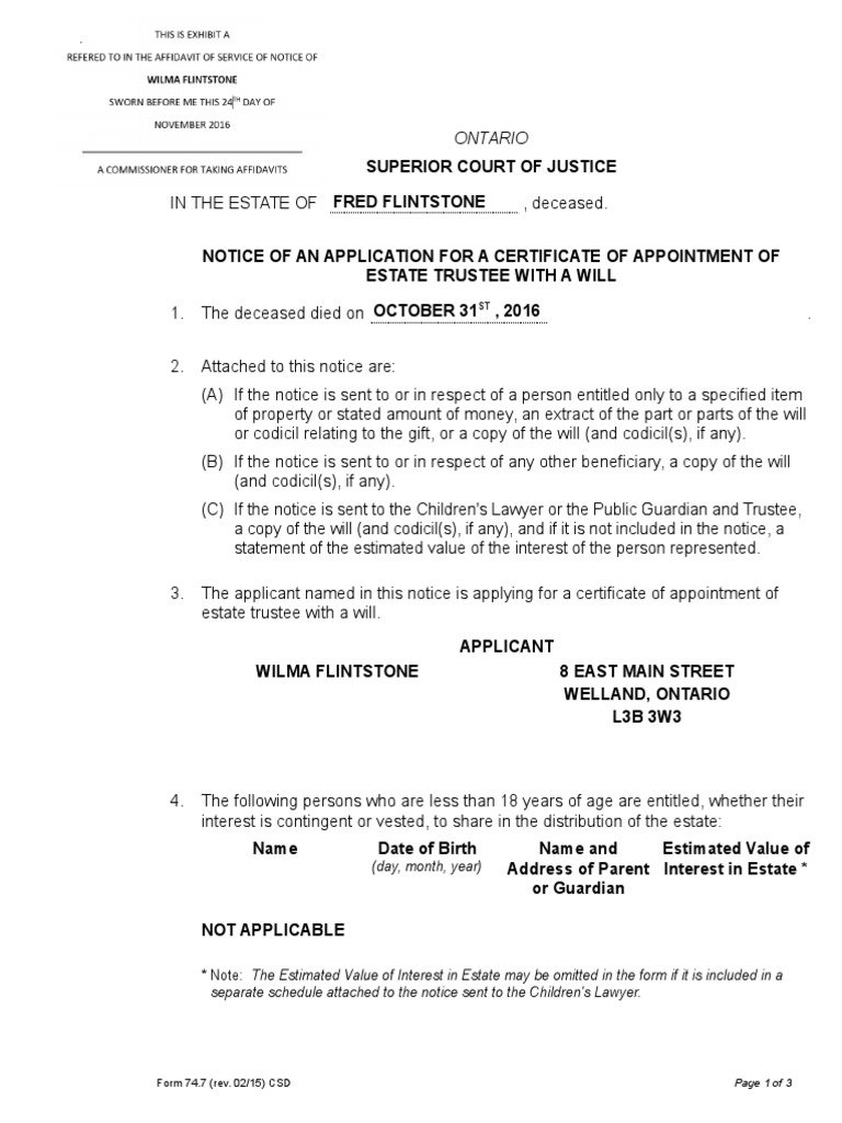 Done notice of application of certificate of apointment of estate done notice of application of certificate of apointment of estate trustee with will print trustee social institutions yelopaper Choice Image