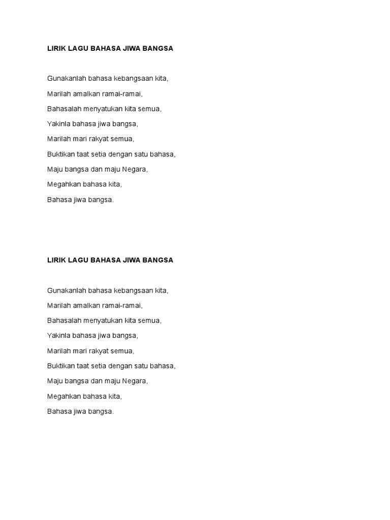 Lirik Lagu Bahasa Jiwa Bangsa Docx