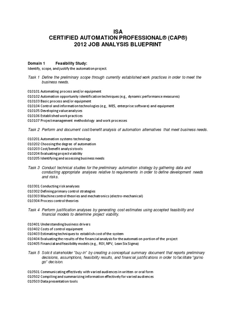 Isa cap 2012 job analysis study blueprint classificationpdf isa cap 2012 job analysis study blueprint classificationpdf computer network automation malvernweather Images