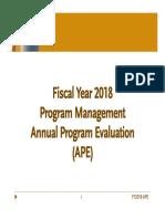 FY18 Annual Program Evaluation (APE) Presentation