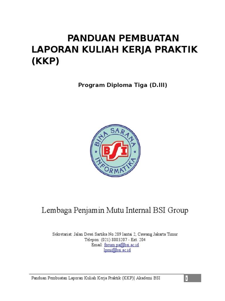 Panduan Laporan Kkp Bsi 2015